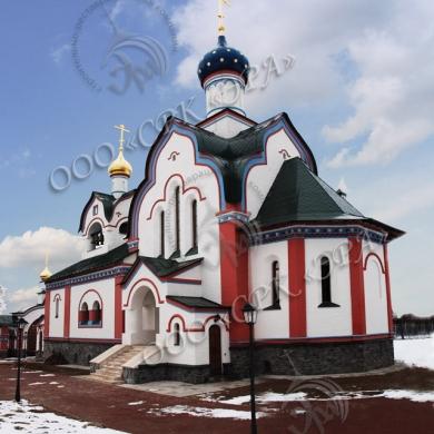 Новопостроенная Покровская церковь в селе Красное Калужской области Хвастовичского района